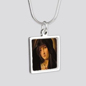 Madonna by Il Sassoferrato Silver Square Necklace