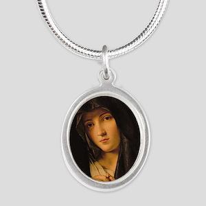 Madonna by Il Sassoferrato Silver Oval Necklace