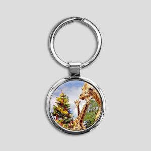 giraffe4cropsmall Round Keychain