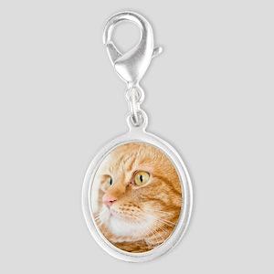 Orange Cat Silver Oval Charm