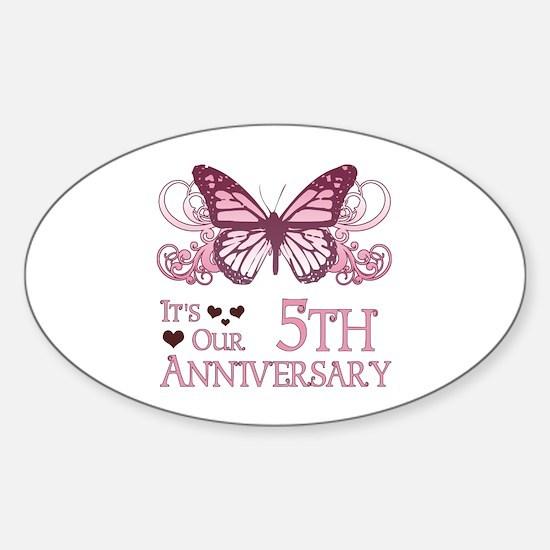 5th Wedding Aniversary (Butterfly) Sticker (Oval)