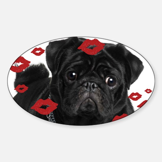 Pugs and Kisses 5x7 Sticker (Oval)