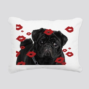 Pugs and Kisses 5x7 Rectangular Canvas Pillow