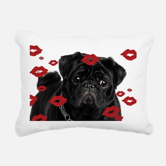 Pugs and Kisses 5x7 Rectangular Canvas Pillow