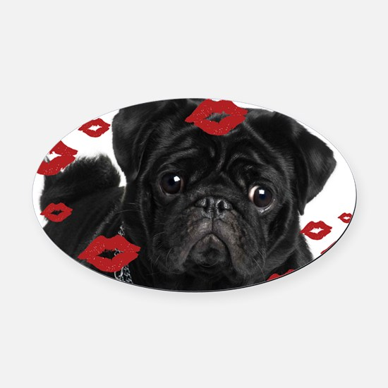 Pugs and Kisses 5x7 Oval Car Magnet