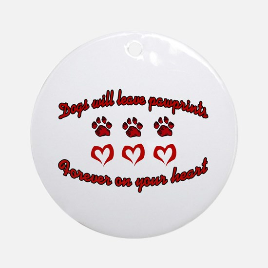 Dogs Leave Pawprints Ornament (Round)