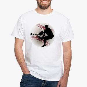 iPitch Baseball White T-Shirt