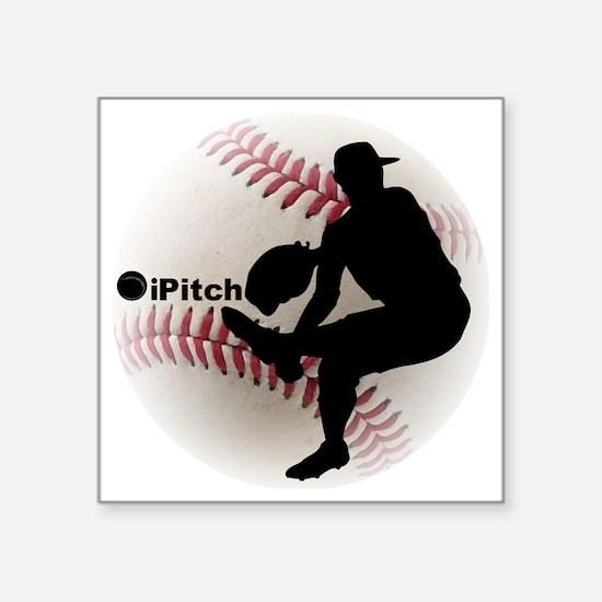 "iPitch Baseball Square Sticker 3"" x 3"""