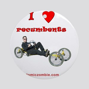 I love recumbents on dark shirts Round Ornament