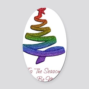 gaypridechristmastree Oval Car Magnet