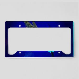 Green Hummingbird-Blue Flower License Plate Holder