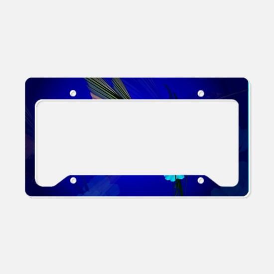 Green Hummingbird-Blue Flower License Plate Holder