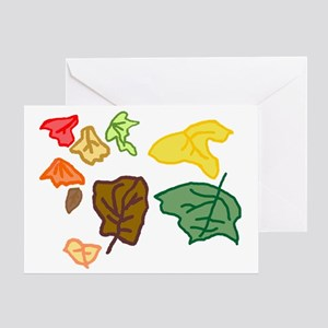 Connors autumn leaves age 3 tr Greeting Card