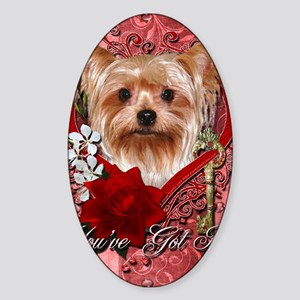 Valentine_Red_Rose_Yorkie Sticker (Oval)