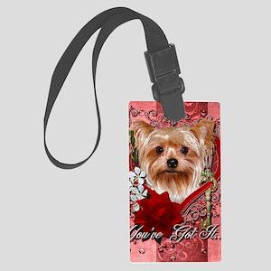 Valentine_Red_Rose_Yorkie Large Luggage Tag
