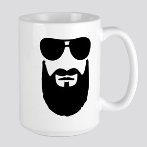 Full beard sunglasses Large Mug