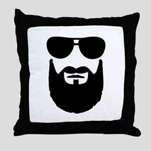 Full beard sunglasses Throw Pillow