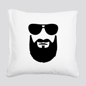 Full beard sunglasses Square Canvas Pillow