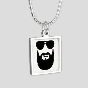 Full beard sunglasses Silver Square Necklace