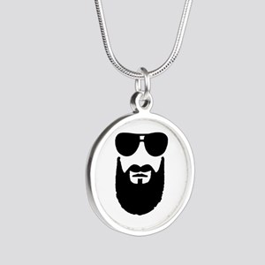 Full beard sunglasses Silver Round Necklace