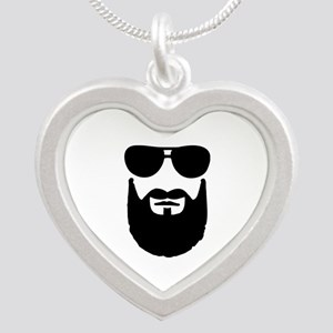 Full beard sunglasses Silver Heart Necklace