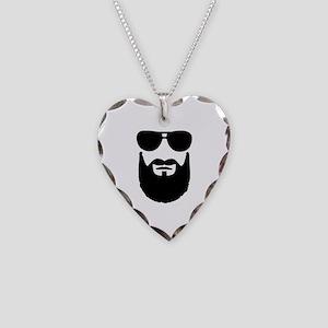 Full beard sunglasses Necklace Heart Charm
