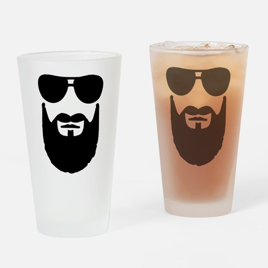Full beard sunglasses Drinking Glass