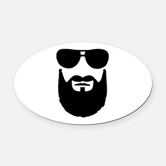 Full beard sunglasses Oval Car Magnet