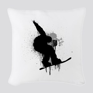 Snowboarder Woven Throw Pillow