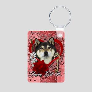 Valentine_Red_Rose_Shiba_I Aluminum Photo Keychain