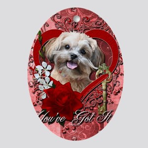 Valentine_Red_Rose_ShihPoo_Maggie Oval Ornament