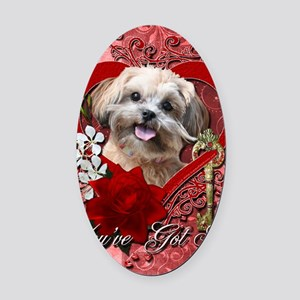 Valentine_Red_Rose_ShihPoo_Maggie Oval Car Magnet