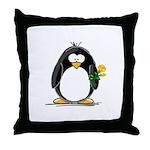 Yellow Rose Penguin Throw Pillow