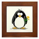 Yellow Rose Penguin Framed Tile