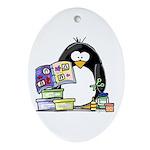 Scrapbook Penguin Oval Ornament