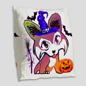 Halloween Corgi Burlap Throw Pillow