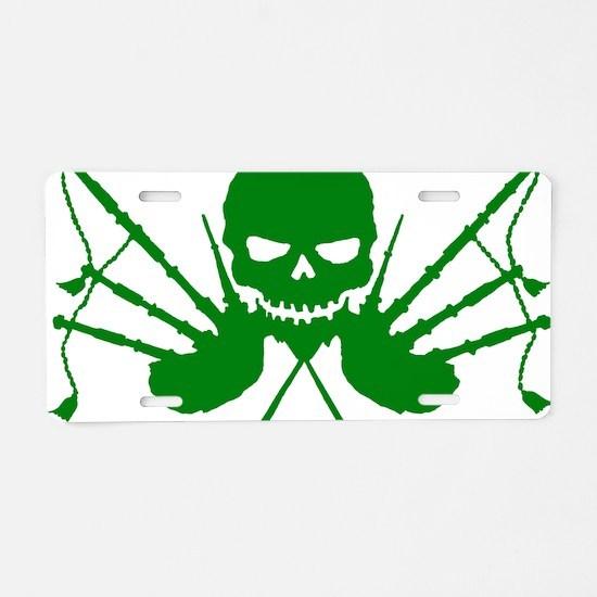Floating Skull n Pipes Gree Aluminum License Plate