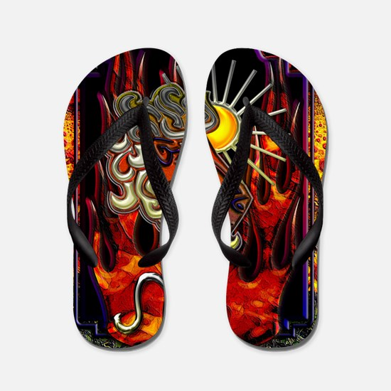 Leo Zodiac Sign iPad Design Flip Flops