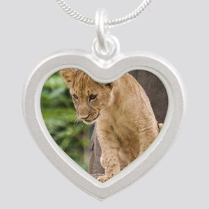 3x3_bear-lion-cub-bronx-zoo Silver Heart Necklace