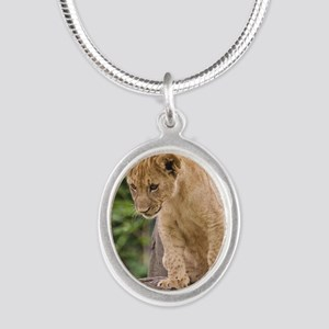3x3_bear-lion-cub-bronx-zoo Silver Oval Necklace