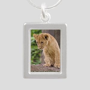 3x3_bear-lion-cub-bronx- Silver Portrait Necklace
