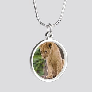 3x3_bear-lion-cub-bronx-zoo Silver Round Necklace