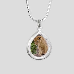 3x3_bear-lion-cub-bronx- Silver Teardrop Necklace