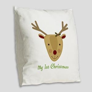 1st Christmas Reindeer Burlap Throw Pillow