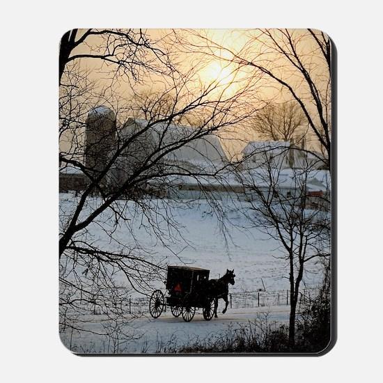 Winter Amish Sunset Mousepad