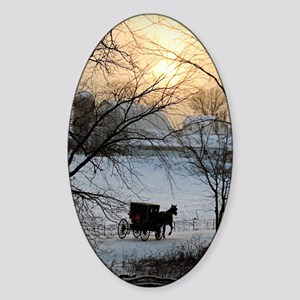 Winter Amish Sunset Sticker (Oval)