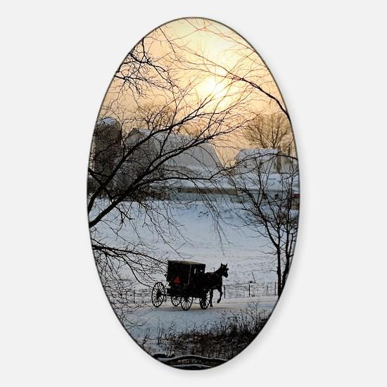 Winter Amish Sunset Sticker (Oval)