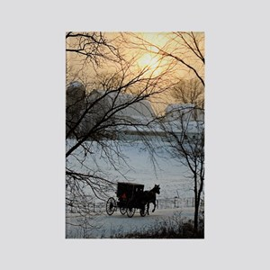Winter Amish Sunset Rectangle Magnet