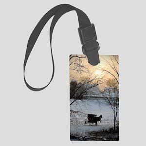 Winter Amish Sunset Large Luggage Tag