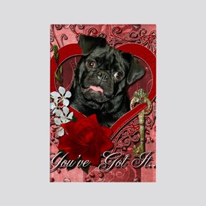 Valentine_Red_Rose_Pug_Ruffy Rectangle Magnet
